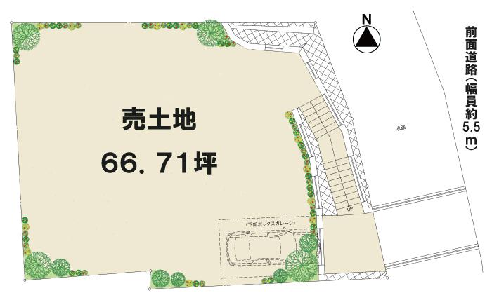 逆瀬台 土地パンフレット図(方位入り)